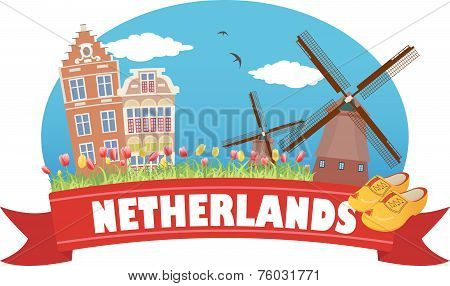 Netherlands. Tourism and travel symbols: architecture, windmills and tulips poster