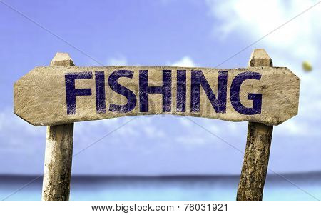 Fishing sign with a ocean on background