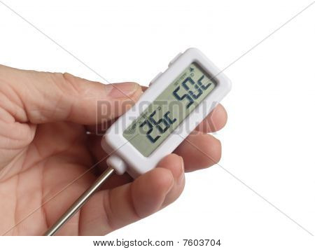 The Electronic Thermometer In A Hand