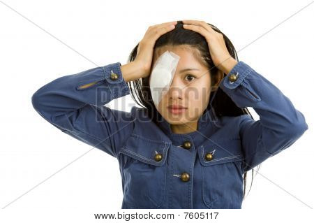 Young Woman After Eye Surgery