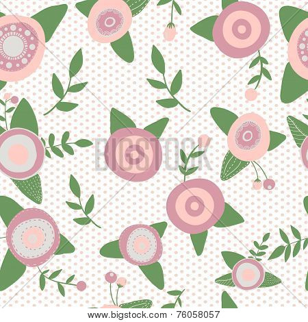 Catoons hand drawn style. Seamless pattern flowers nature.