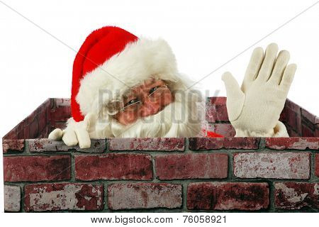 Santa Claus waves at you the viewer while in a Chimney delivering presents to good boys and girls around the world. Santa enters your house through your chimney with the help of his Christmas Magic.