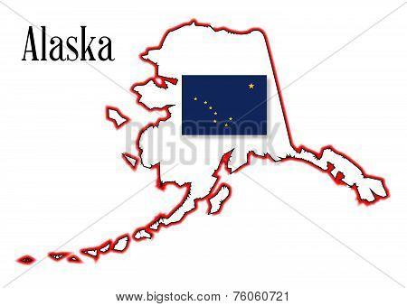 Alaska State Flag And Map