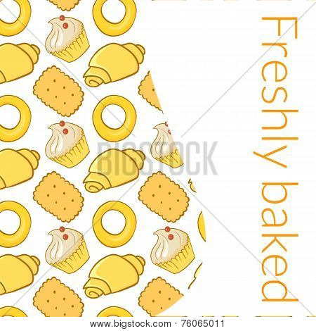 Vector illustration  delicious pastries, cookies, croissants, biscuits in doodle style, background with place for text poster