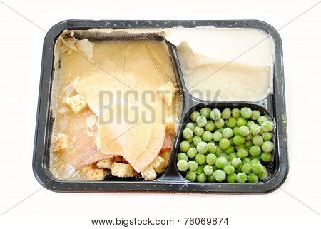 A Frozen Turkey Tv Dinner Over White