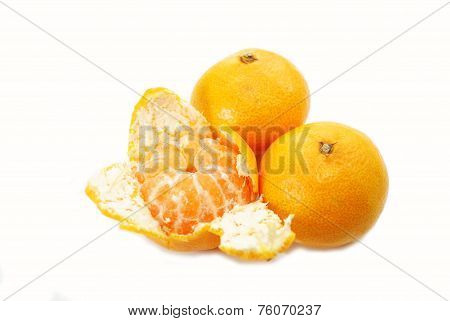 Eating Healthy Organic Tangerines Over White