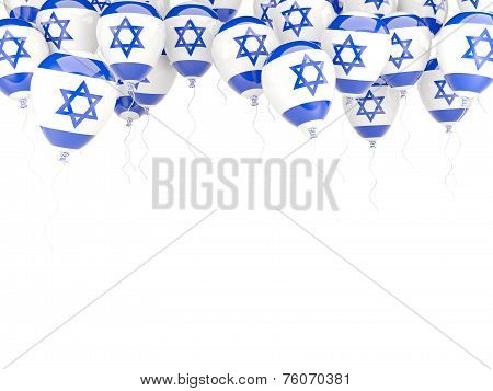 Balloon frame with flag of israel isolated on white poster
