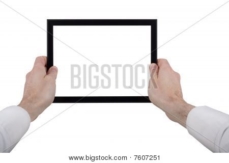 Male Hands Holding A Touchpad Pc, Isolated