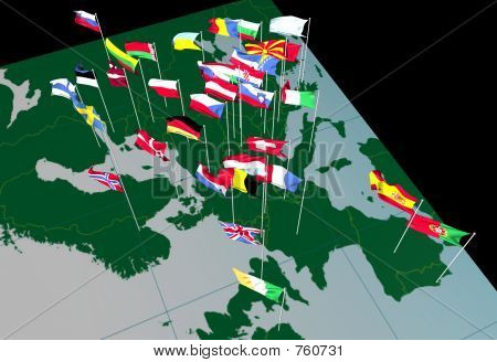 European Flags on Map (West view)