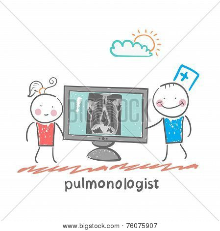 pulmonologist, chest X-ray shows a patient