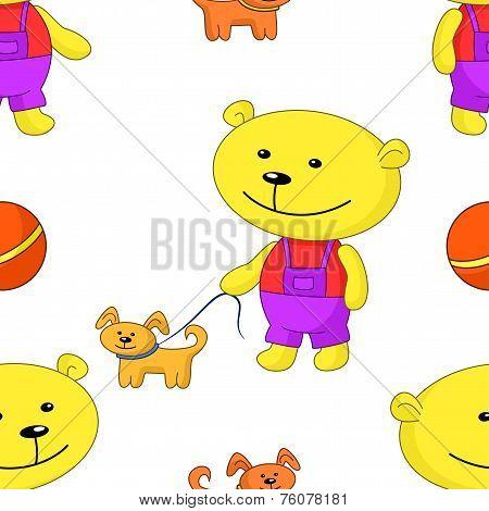 Seamless background, teddy-bear with dog