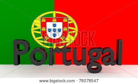 Writing Portugal In Front Of A Portugese Flag