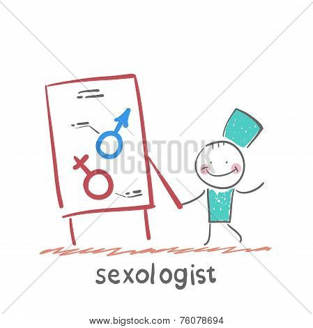 Sexologist holding signs, male and female