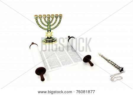 Torah scroll with menorah and pointer on light background poster
