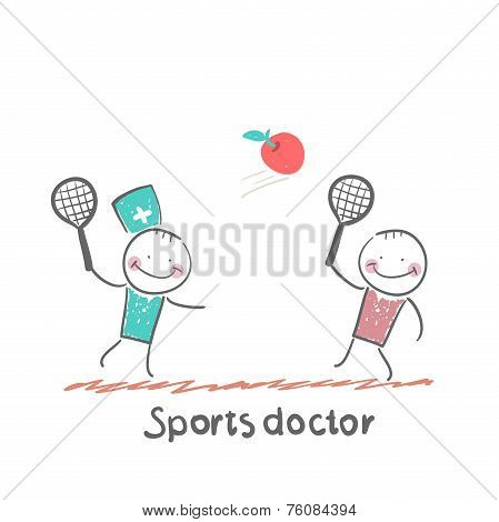 Sports doctor plays with a man in badminton apple