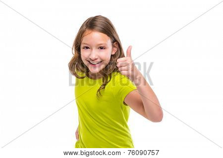ok gesture thumb up gunny happy kid girl on white background