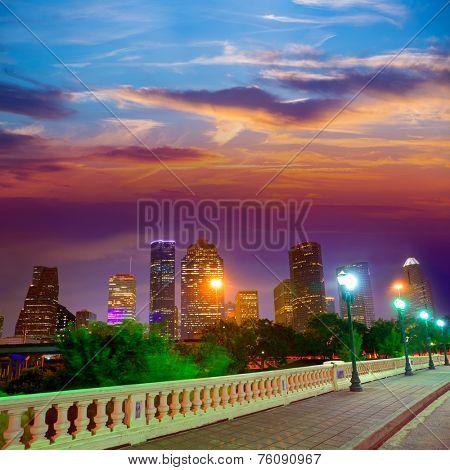 Houston skyline at sunset from Sabine St bridge Texas USA US America