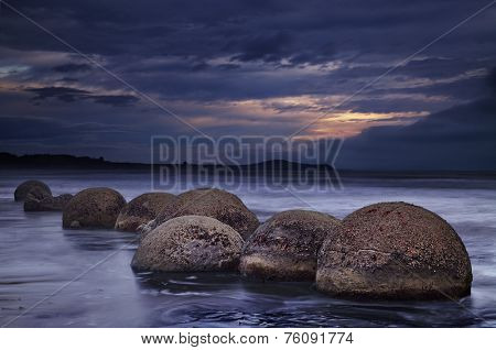 Moeraki Boulders at sunrise, South Island, New Zealand  poster