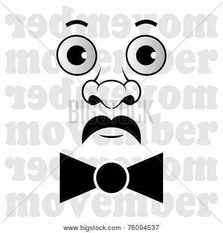 Movember - The Man With Mustache And Bow Tie