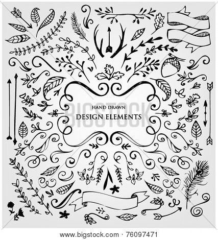 Set of calligraphic design elements. Frames, labels, ribbons, symbols. Brand & identity elements