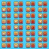 Yellow game icons buttons, icons, interface, ui poster