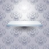 Empty isolated shelf on beautiful luxury background. Vector poster