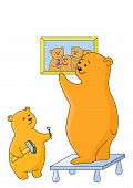 Teddy-bears father and the son attach a picture on a wall poster