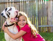 great dane and kid girl hug playing together at backyard outdoor poster