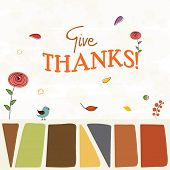 Thanksgiving Day celebration concept with stylish text Give Thanks, turkey bird, and autumn leaves on abstract background. poster