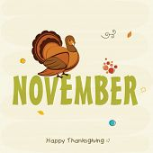 Stylish text November with turkey bird for Thanksgiving Day celebration, can be used as poster, banner or flyer. poster