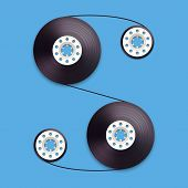 A vector illustration of a recordable bobbin of tape cassette. Letter S. Vector illustration in eps10 poster