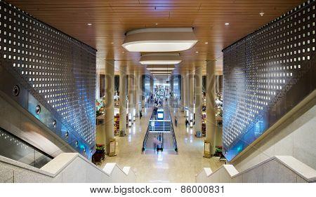 Mumbai, India - December 25, 2014: Tourist At Chhatrapati Shivaji International Airport. Terminal 2