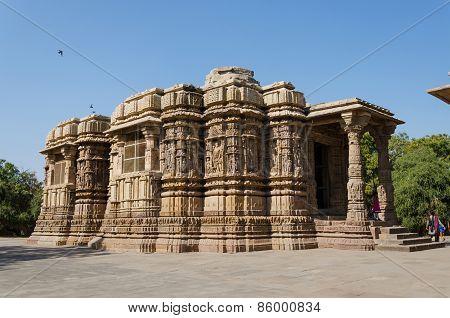 Ahmedabad, India - December 25, 2014: Tourist Visit Sun Temple Modhera In Ahmedabad