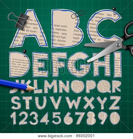 Alphabet and numbers, paper craft design, cut out by scissors from newspaper