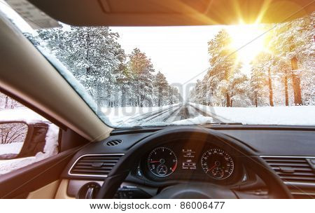 Icy Road Winter Drive