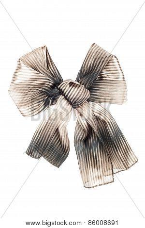 Silk Scarf. Beige Silk Scarf Folded Like Bowknot