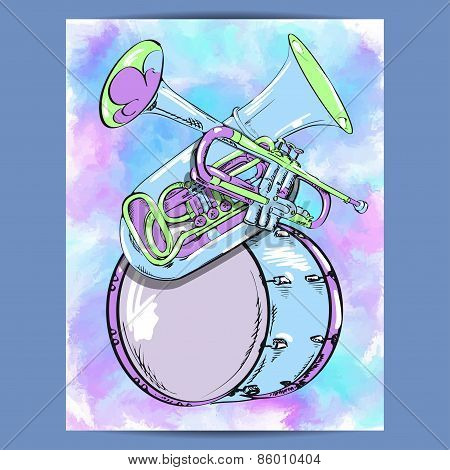 Poster with wind instruments