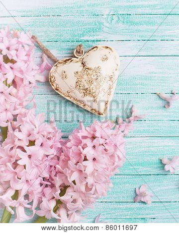 Postcard With Fresh Flowers Hyacynths  And Decorative Heart