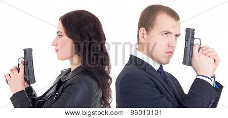 Portrait Of Man And Woman Special Agents With Guns Isolated On White