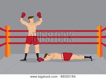 Winner Boxer In Boxing Ring Vector Illustration