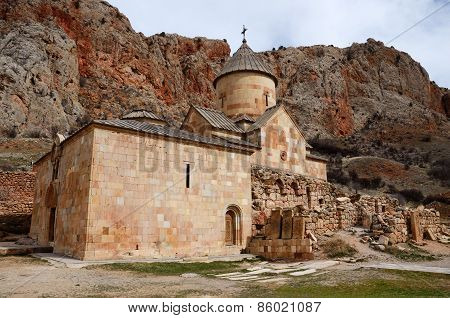 Church of Surb Karapet (St. John the Baptist) in Noravank orthodox monastery located in gorge made by Amaghu River, Armenia poster