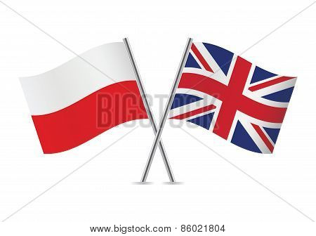 Polish and British flags. Vector illustration.