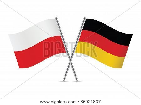 Polish and German flags. Vector illustration.
