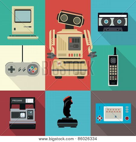 Vintage flat vector electronic items