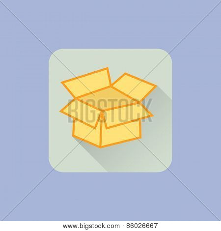 Open Box icon. Flat design with long shadow. On spring lovely blue background