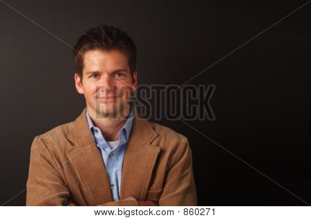 Smiling Man With Brown Jacket