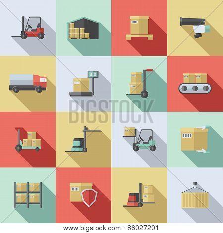 Warehouse Flat Icons Set