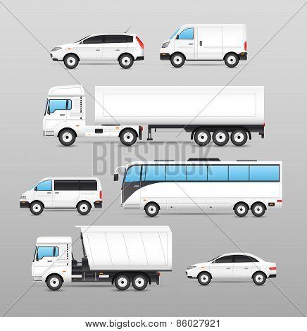 Realistic Transport Icons Set