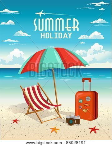 Summer beach holiday vector retro background. Travel and Vacation concept.