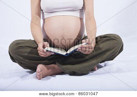 Pregnant Sit Reading Book